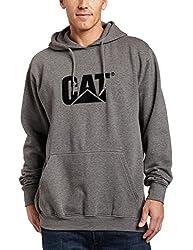 Caterpillar Men's Tall Trademark Hooded Sweatshirt (Regular and Big Sizes), Dark Heather Grey, Large