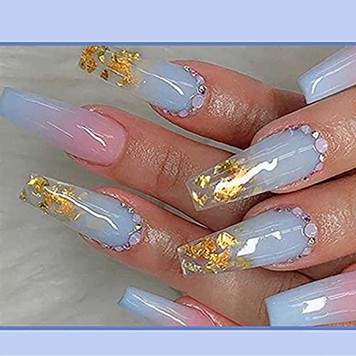 Brishow Sarg Künstliche Nägel Falsche Nägel Lange Kristallpresse auf die Nägel Ballerina Acryl Stick auf die Nägel 24 Stück für Frauen und Mädchen
