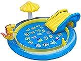 GLLP Cama Flotante de la Piscina Inflable, tobogán Inflable del Dinosaurio, Boquilla de la Fuente, Estera de Juegos para niños, Disfrute del baño Natural en casa, al Aire Libre y en la Playa