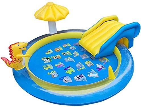 XINGDONG Cama flotante de la piscina inflable, tobogán inflable del dinosaurio, boquilla de la fuente, estera de juegos para niños, disfrute del baño natural en casa, al aire libre y en la playa durab