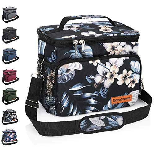 Insulated Lunch Bag for WomenMen - Reusable Lunch Box for School Office Picnic Hiking - Leakproof 12-Can Coke Cooler Tote Bag Organizer with Adjustable Shoulder Strap for KidsAdults - Hibiscus