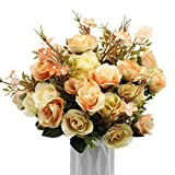 BlueXP 3 Pacco 10 Capi Rose in Seta Artificiale Fai da Te Falso Foglia Rosa Bouquet Vintag...