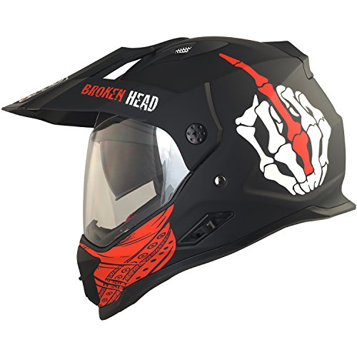 Broken Head Street Rebel Cross-Helm rot mit Visier - Enduro-Helm - MX Motocross Helm mit Sonnenblende - Quad-Helm (L 59-60 cm)