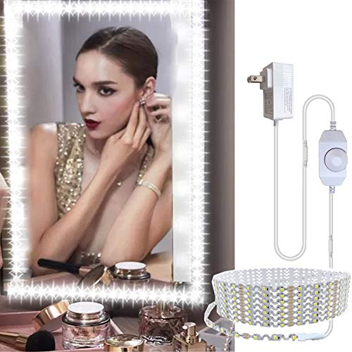 13ft/4M Bendable Led Vanity Mirror Lights Kit Vanity Make-up Mirror Adjustable Flexible Strip Light Table Set with Dimmer and Power Supply Mirror Not Included