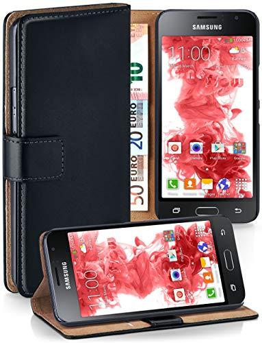 moex Premium Handytasche kompatibel mit Samsung Galaxy J1 (2016) - Klapphülle mit Kartenfach und Ständer, magnetische Handy Tasche - Flip Case Schutzhülle, Schwarz