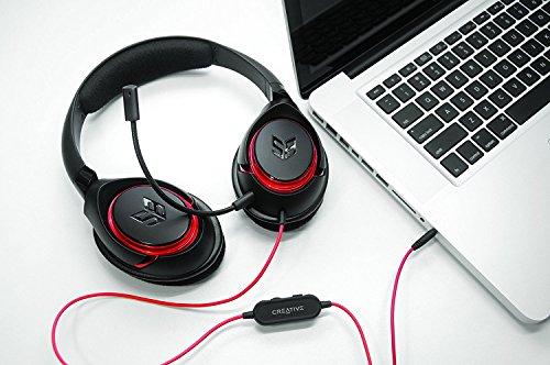 Creative by fiducia B-Ware Inferno Gaming Headset Micrófono Desmontable para PC, Mac, iPhone, Android, Smartphone y PS4Auriculares + Regalo Gratuito