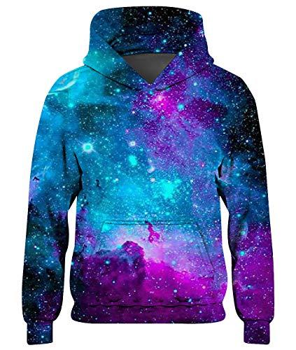 Loveternal Unisex Galaxis Hoodie Bunte 3D Druck Kapuzenpullover Langarm Sweatshirts für Jungen und Mädchen XL