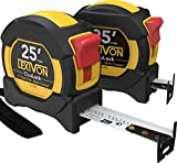 LEXIVON [2-Pack] 25Ft/7.5m DuaLock Tape Measure   1-Inch Wide Blade with Nylon...