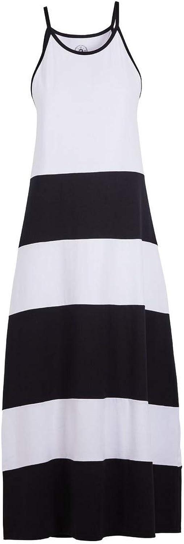 Beachcombers Women Cotton Spandex color Block Halter Maxi Black White Medium
