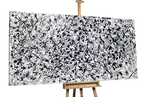 'Gut und Böse' 200x100cm | Abstrakt Schwarz Weiß XXL | Modernes Kunst Ölbild