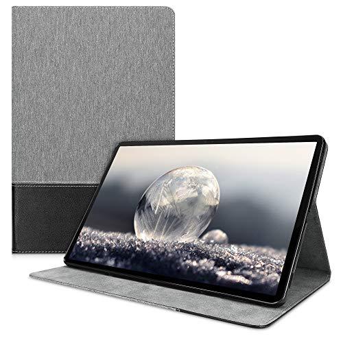 kwmobile Schutzhülle kompatibel mit Samsung Galaxy Tab S7 Plus/Tab S7 FE - Hülle Slim - Tablet Cover Hülle mit Ständer Grau Schwarz