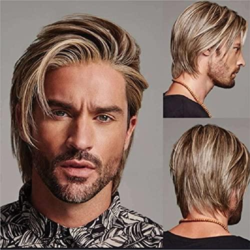 LIUSHI Peluca de Hombre Peluca marrón de Peluca Corta para Hombre para Uso Diario Wig Peluca sintética Naturaleza (Color : A)