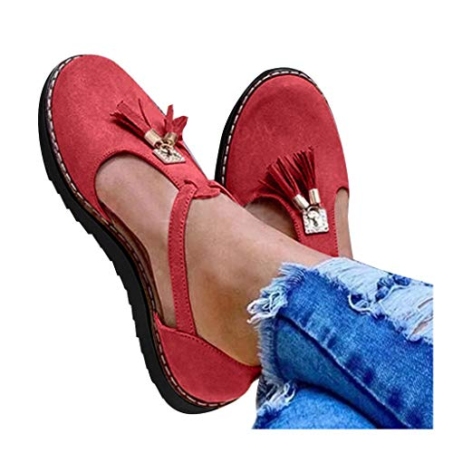 For Sale! kaifongfu Womens Loafers Sandals Classic Round Toe Flat Shoes Tassel Thick Bottom Casual M...