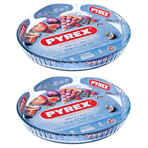 Pyrex Classic Bake & Enjoy Glass Quiche Flan Dish 25cm 1.1 Litre Transparent (Pack of 2)