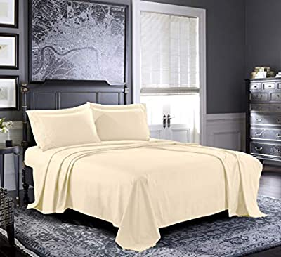 Pure Bedding Bed Sheets - King Sheet Set [6-Piece, Beige] - Hotel Luxury 1800 Brushed Microfiber - Soft and Breathable - Deep Pocket Fitted Sheet, Flat Sheet, Pillow Cases