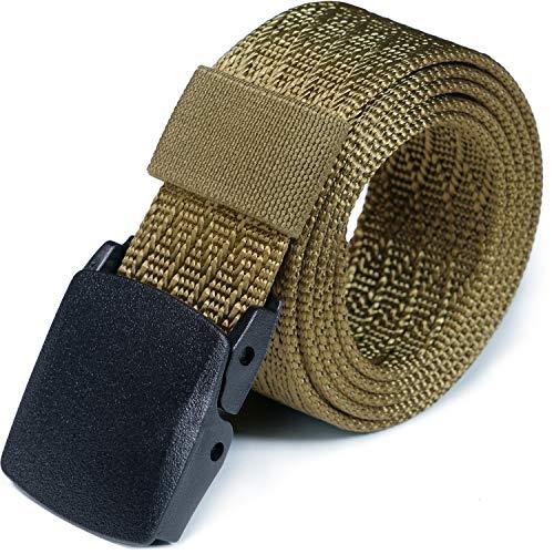 CQR Tactical Belt, Military Style Heavy Duty Belt, Lightweight Nylon Webbing EDC Buckle, Plastic Full Cover Khaki, M[w32-34]