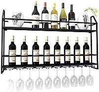 HTDZDX 脚付きグラスラックメタルウォールは、ワインボトルホルダーワインラック/ウォールマウントワインラック/逆さまガラスホルダーハンギング/クリエイティブホームバー/ワインラックハンギングガラスホルダーハンギングマウント (Color : Black, Size : 60*62cm)