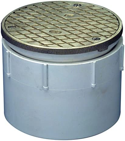 """Zurn CO-PV3 PVC Finished Area Adjustable Cleanout with Nickel Bronze Cover, 4"""" Pipe Size, 5"""" Diameter"""