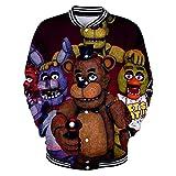 Gbbhretg Five Nights at Freddy's Sweatshirts Mantel 3D Digital gedruckte Baseball-Trikot Unisex-beiläufige Sport-Oberbekleidung Herbst-Winter-Jacke Five Nights at Freddy's Mäntel