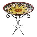Gardener Select (A14BFG02) Glass Bird Bath - Mosaic Glass Tile Birdbath Bowl and Stand (Sun Design)