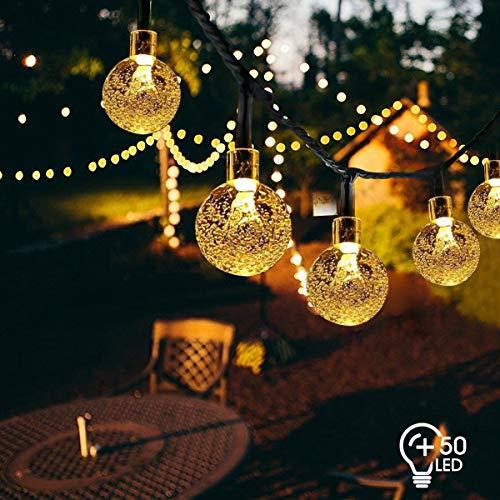 VIFLYKOO Solar Lichterkette Außen, LED Solar Lichterkette mit Kristall Kugeln Beleuchtung 7M 50 LEDs 8 Modi IP65 Wasserdicht für Garten,Terrasse,Bäume,Hof, Haus Party Deko [Energieklasse A+++]
