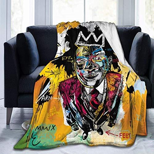 Yaxinduobao Jean Michel Basquiat Flannel Fleece Manta Super Soft Warm Cozy Lightweight Easy Care All Season Premium Bed Manta Available in Three Sizes 50' X 40',60'x50',80'x60'Inch