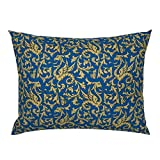 Roostery Pillow Sham, Gryphon Griffin Blue and Gold Mythology Medieval Scrollwork Dragons Print, 100% Cotton Sateen 26in x 20in Knife-Edge Sham