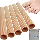Chiroplax Toe Tubes Sleeves Protectors Cushions Fabric & Gel Lining Finger Toe Separator Tubing for Bunion, Hammer Toe, Callus, Corn, Blister (5Pack+Pouch, Size Medium)