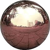HomDSim - Bola de espejo de 25 cm de diámetro, de acero inoxidable pulido y pulido de color oro rosa, con esfera de jardín suave, colorida y brillante, para cualquier jardín o hogar