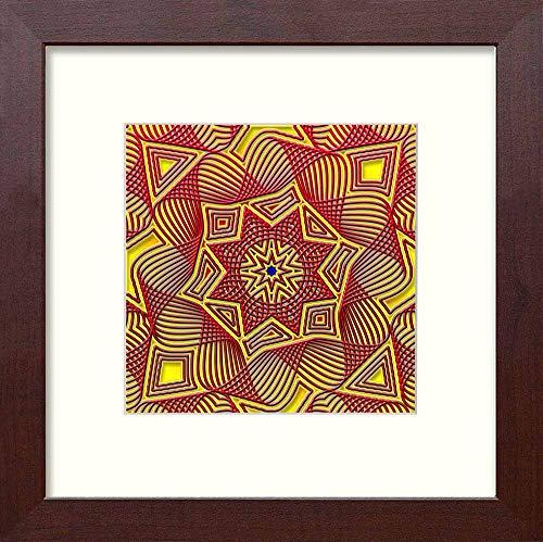 L Lumartos Vintage Piastrelle Islamiche contemporanee Decorazione della casa Wall Art Print, Mogano, 10 x 10
