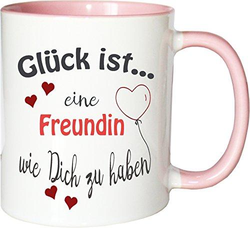 WarmherzIch Becher Tasse Glück ist… Freundin Kaffee Kaffeetasse liebevoll Bedruckt Trauzeugin BFF Frineds Forever Weiß-Rosa
