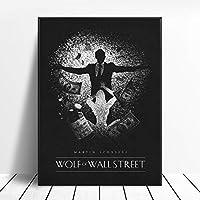ウォールストリートのオオカミブラックホワイトクラシック映画ポスターウォールアート画像キャンバスポスターとプリントHDプリント油絵壁画リビングルーム家の装飾フレームレス