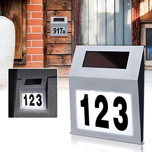 NAIZY Solar Hausnummer LED Edelstahl Beleuchtete mit 2 LED Hausnummernleuchte Dämmerungsschalter und amorphem Silizium- Solar-Panel - Silver