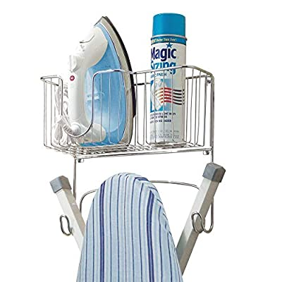 mDesign Metal Wall Mount Ironing Board Holder with Large Storage Basket - Holds Iron, Board, Spray Bottles, Starch, Fabric Refresher for Laundry Rooms