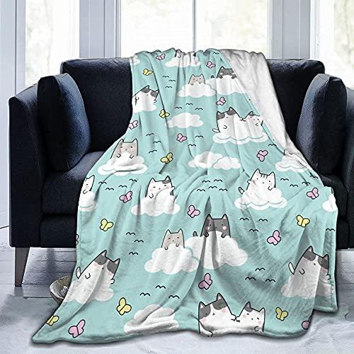 Cozy Blanket Franela Throws Fleece Fluffy Manta Kawaii Cute Cats in Sky Lavable a máquina Cómoda Manta para el hogar, el automóvil y la Manta para Exteriores