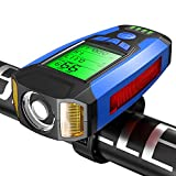 Guijiyi Luci Bicicletta LED,Ricaricabili USB 4 in1 Impermeabile Luce per Bicicletta con 130 Db Clacson Bici & Computer da Bicicletta & Allarme Antifurto,5 llluminazione e Suoni modalità Torcia (Blu)
