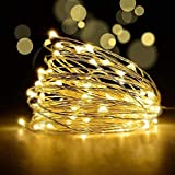 YoTelim LED Fairy String Lights with Remote Control - 2 Set 100 LED 33ft/10m Micro Silver Wire Indoor Battery Operated LED String Lights for Garden Home Party Wedding Festival Decorations(Warm White)