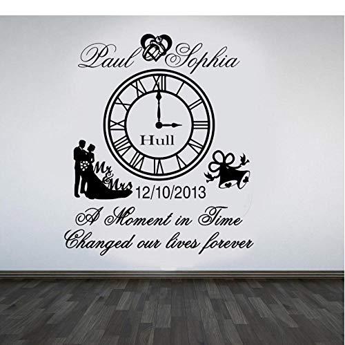 Dwqlx Hochzeitstag Uhr Keep Sake Wandkunst Aufkleber Wohnkultur Zimmer Removable Dekoration 68 * 58