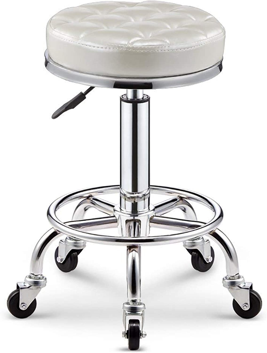 Adjustable Barstools Rolling Swivel Stool for Salon Spa Massage Tattoo Facial Medical Office Chairs with Pu Leather,White