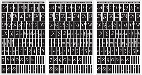 Armour Products Rub n' Etch Glass Etching Stencils 5 inch x 8 inch 3 Pack Script Letters and Numbers 12-7032