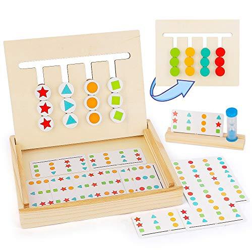 BeebeeRun Kinder Montessori Spielzeug Farben Sortier,Holzpuzzle für 3 4 5 Jahre ,Holzspielzeug Sortierbox Lernspielzeug für Jungen Mädchen Geschenke
