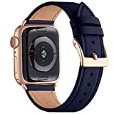 WFEAGL Compatibile con Cinturino Apple Watch 42mm 44mm 38mm 40mm, Pelle Cambiamento Cinturini Compatibile con Watch Serie 5 Serie 4/3/2/1(38mm 40mm,Blu Scuro/Oro Rosa)