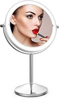 Vanity Mirror with Light,10X Magnification Makeup Mirror,Double Sided Dimmable Tabletop Cosmetic Mirror with Touch Control 360 ° Rotation Battery Powered for Men Women Home Use by JLANG