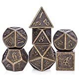 Ancient Design Dice, 7PCS Brass DND Metal Dice with Metal Box for Table Games Dungeons and Dragons D&D