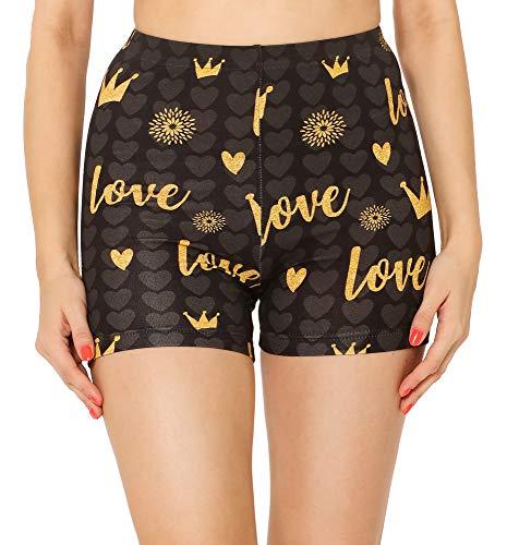 Merry Style Leggins Cortos Malla Deportiva Short Mujer MS10-407(Grafito/Amor y Corona,XS)