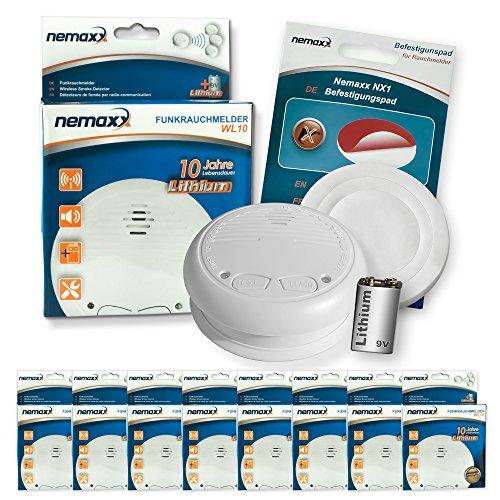 8X Nemaxx WL10 Funkrauchmelder - mit 10 Jahre Lithium Batterie Rauchmelder Feuermelder Set Funk koppelbar vernetzt - nach DIN EN 14604 + 8X NX1 Quickfix Befestigungspad