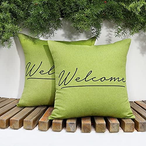 Lewondr Outdoor Kissenbezug, 2er Pack Wasserdicht Kissenhülle mit Welcome Drucken, UV Schutz Zierkissenbezug Kopfkissenbezug mit Beschichtung für Sofa Stuhl Garten Lounge(45x45cm) - Grün
