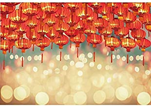 Haoyiyi 10x8ft Happy Chinese New Year Backdrop Background Red Lanterns Bokeh Halos Glitters Photography Photo Family Reunion Party Indoor Outdoor Photo Decor Wallpaper Photocall Photoshoot
