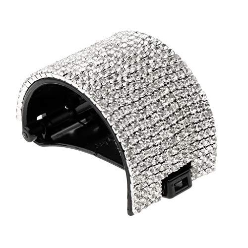 Garra de Pelo Cristalina Clip de Cabello Pasador de Moño Titular de Cola de Caballo Regalo de Fiesta para Mujer - Negro-5.5x4cm