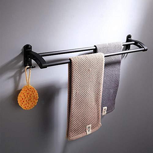 Toallero de baño de aluminio Space punch libre de un solo poste, doble barra, colgador de toallas, toallero negro, doble poste